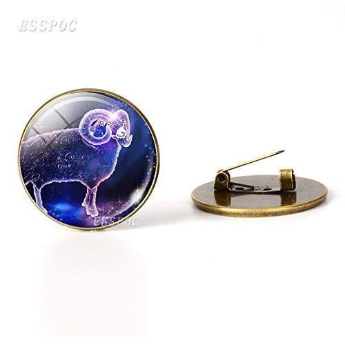 12 Zodiac Signs Constellations Bronze Metal Brooch Glass Dome Fashion Jewelry Women Aries Cancer Libra Leo Virgo Birthday Gift