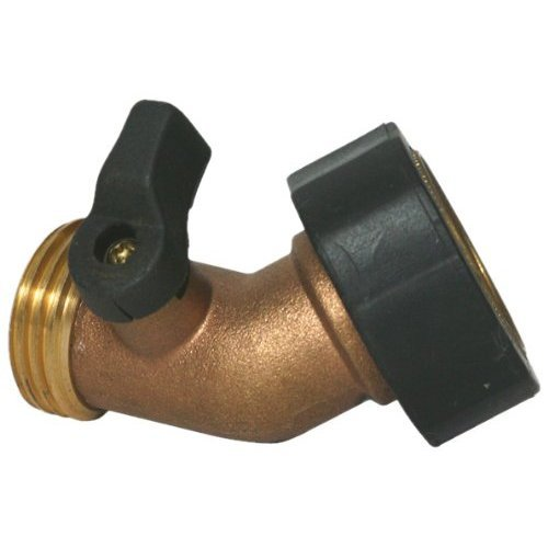 Camco Stainless Steel Solid Brass Water 45 Degree Valve- Easy Grip Valve Handles and Simple Water Hose Connection CSA Low Lead Certified - (20173) (Hose 45)