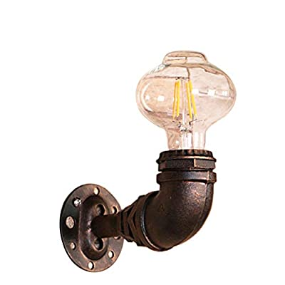 "Retro Industrial Vintage Water Pipe Wall Light Sconce - YIKEGE Minimalist Lamp Reading Lights Antique Edison Fixture 4.72"" Height Bedside Lighting for Headboard Bedroom Garage Porch Farmhouse Barn"