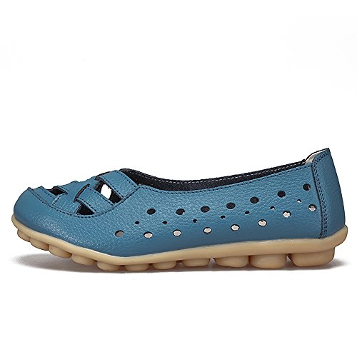 Breathable Blue Slippers Leather Driving Cut Out Shoes Flat on Women's Loafers Indoor SUNROLAN Slip 1C5SqOCv