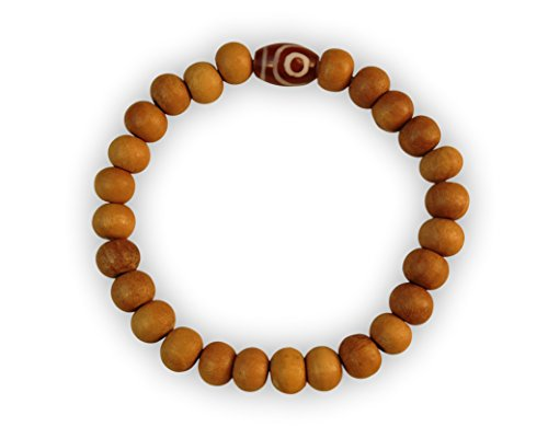 Healing Wood Bead Wrist Mala Yoga Bracelet with Stretchy Cord (handmade) WB3 (Red dZi)