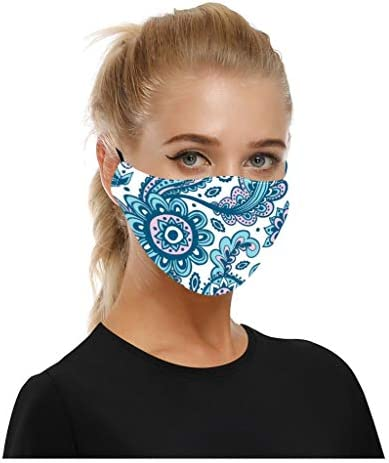 Zexikeji 2PC Cotton Face_Mask Bandanas Washable with 4PC Filters, Women Cloth Polyester Dust Reusable Face Covering
