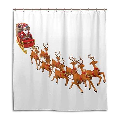 Tomalillin Christmas Sled Santa Claus On Sleigh Polyester Bathroom Decor with Hooks Mildew Resistant Waterproof Shower Curtain