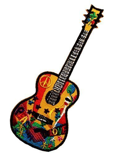 Peace Guitar Hippie Guitar Music Lovers Patch '' 5 x 12,8 cm '' - Embroidered Iron On Patches Sew On Patches Embroidery Applikations -