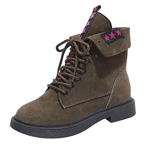 HYIRI Keep Warm Round Toe,Women Square Heel Shoes Martain Boot Suede Lace-Up Shoes for $<!--$13.62-->
