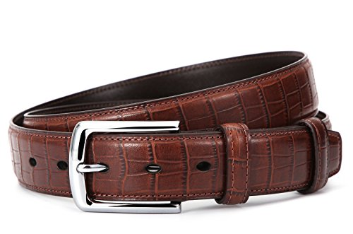 Mens Crocodile Embossed Italian Leather Dress Belt Dark Brown 36