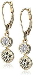 """Judith Jack """"Golden Class"""" Sterling Silver and Gold-Tone Marcasite Cubic-Zirconia Drop Earrings"""