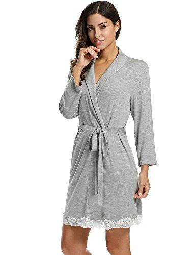 Avidlove Womens Bathrobe Soft Kimono Cotton Knit Robe Lace