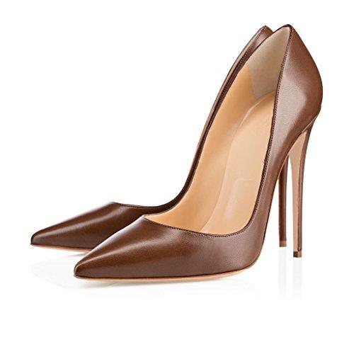 Classic Synthétique Couture Pointu Talon Elashe Grande Haut Femmes Taille 12cm Marron Aiguille Stiletto Cuir Haute Bout Sexy Fermé Zwqw0Pxt