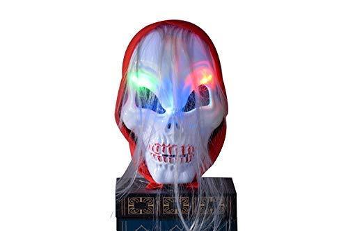 Halloween horror maschera di teschio fantasma LED rosso foulard Hheadband luminescenti party–Featherlike pastello condotto illuminare masquerade Reddened Nero