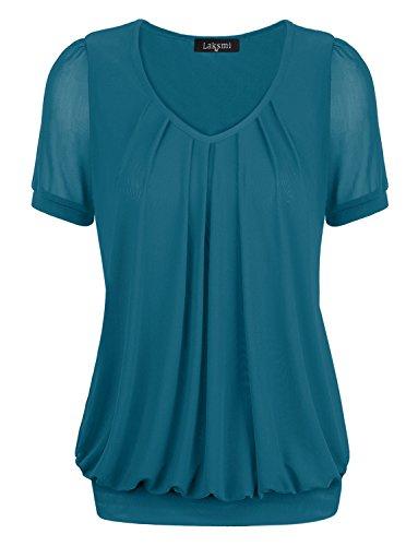 Tee Shirts,Laksmi Women's V-Neck Fashion Loose Fit Formal Tee Blouse,X-Large ()