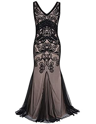 PrettyGuide Women 1920s Prom Gown Long Mermaid Formal Evening Dress