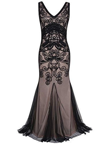 PrettyGuide Women 1920s Prom Gown Long Cocktail Formal Evening Dress L Black beige