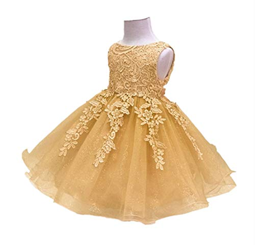 HX Baby Girl's Lace Gauze Christening Baptism Wedding Dress with Petticoat (12M/Fit 8-12 Months, -