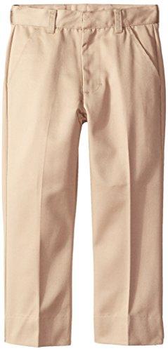 CLASSROOM Little Boys' Uniform Flat Front Pant with Adjustable Waist, Khaki, (Adjustable Waist Khaki)