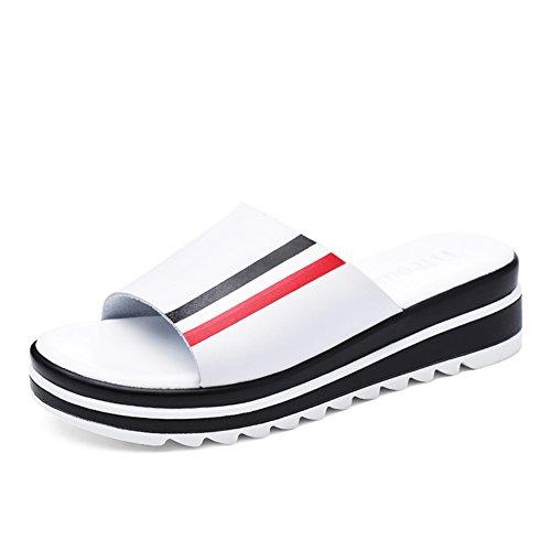 ZCJB Moda Zapatillas De Tacón Medio Mujer Verano Sandalias De Fondo Grueso Sandalias Exteriores De Muffin De Desgaste Exterior ( Color : Blanco , Tamaño : EU39/UK5.5/L:24cm )