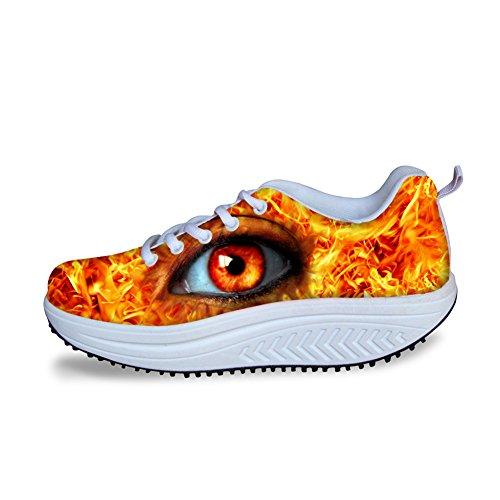 Pour U Conceptions Créatives Eye Léopard Impression Femmes Wedges Plate-forme Fitness Chaussures Yeux Jaunes 1