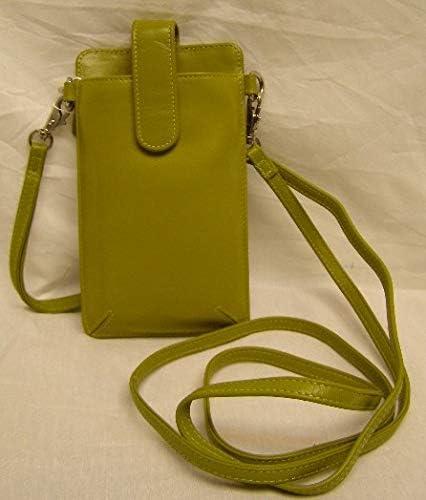 Ili leather RFID cellphone case wallet bag wristlet shoulder strap moss green