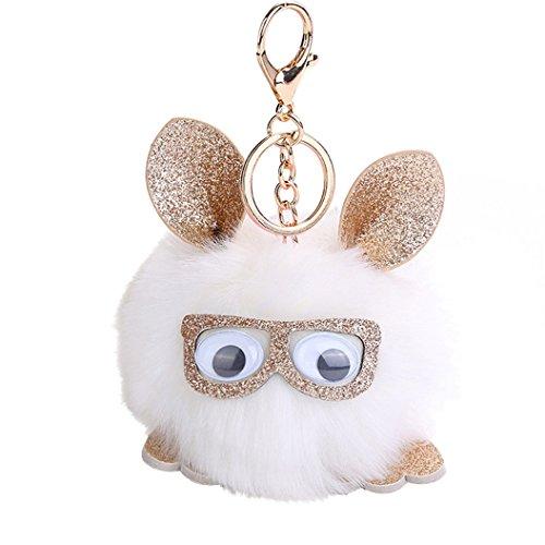 Catnew Fashion Lovely Women Girl Cartoon Owl Wearing Glasses Faux Fur Bag Handbag Car Wallet Pendant Key Chain Keyring (White) (Hottest Cartoon Girl)