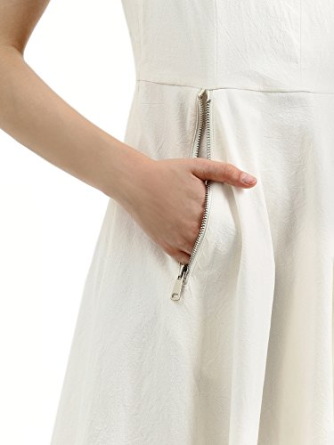 White with A Pockets Dress Side Womens line Cocktail Party Sleeveless AMII Zipper a6OYPx