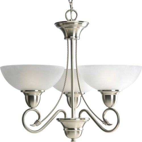 Progress Lighting P4580-09 3-Light Chandelier In Etched Watermark Glass with Twisted Wire Details and Wound Bands, Brushed Nickel
