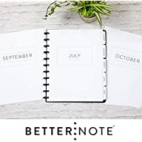 "BetterNote July 2020 - June 2021 Academic Monthly Calendar with Tabbed Dividers for Disc-Bound Planners, Fits 11-Disc Levenger Circa, ARC, TUL, Letter Size 8.5""x11"" Classic (Notebook Not Included)"