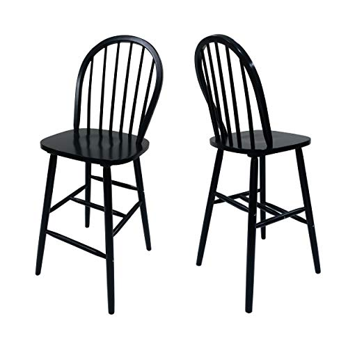 (Christopher Knight Home 306995 Lopez Spindle Bar Stools - Rubberwood - Traditional - Farmhouse-Style - Black - Set of 2-29.2