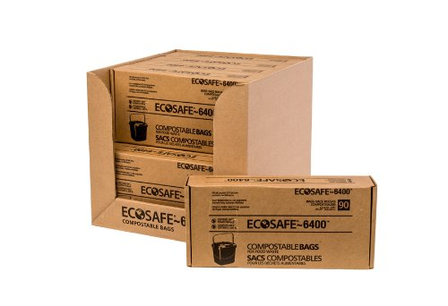 EcoSafe-6400 CP1617-6 Compostable Bag, Certified Compostable, 2.5-Gallon, Green (Pack of 90) ()