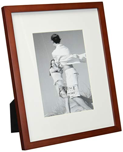 Lawrence Frames Walnut Wood 8 by 10 Picture Frame Matted to 5 by 7