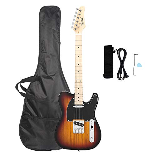 Glarry GTL Maple Fingerboard Electric Guitar Bag Strap Plectrum Connecting Wire Spanner Tool Sunset Color