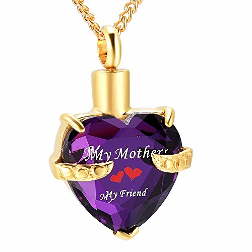DIYjewelry Inc My Mother Engraved Birthstone Heart Cremation Urn Necklace Memorial Ashes Keepsake Pendant (gold and purple)
