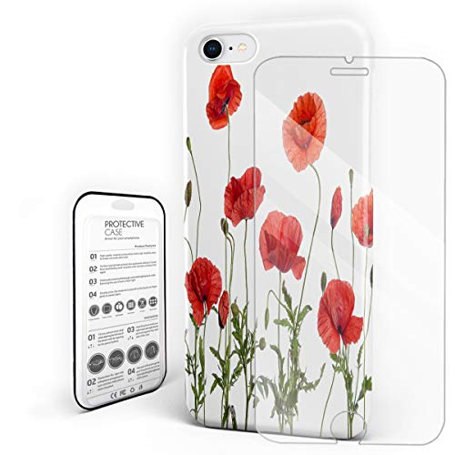 (Poppy Decor Phone Case for iPhone 7/8 Case Cover, Spring Wild Flower Poppy Leaf Springtime Garden Backyard, Protective Shockproof Anti-Scratch Back Case with Tempered Glass Screen Protector)