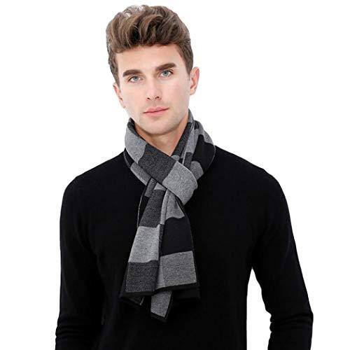 (Taylormia Men's Winter Fashion Long Cashmere Feel Merino Wool Warm Knit Scarf black grey)