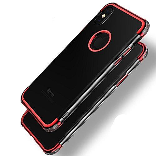 iPhone X Hülle,EinsAcc Transparent Rot Slim Weiche Schutzhülle Hülle für iPhone X