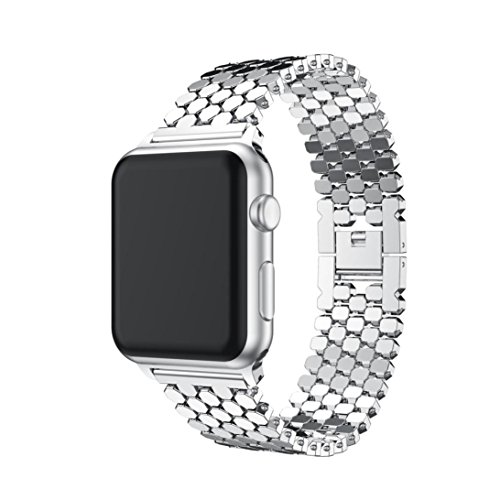 Creazy Stainless Steel Watch Band Replacement Strap for iwatch Apple Watch 38MM or 42 MM (38MM, Silver)