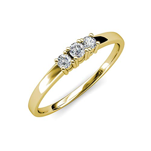 TriJewels Round Lab Grown Diamond Womens 3 Stone Engagement Ring (VS2-SI1, F-G) 0.40 ctw 14K Yellow Gold.size 8.0 3 Stone Vs2 Ring