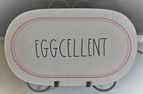 Rae Dunn EGGCELLENT in Large Letters with Pink Line around rim Easter 15 inch oval end Dinner Dessert Snack Appetizer Platter Tray. By Magenta.