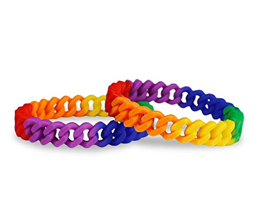 2 Pack Gay Pride Rainbow Silicone Chain Link Bracelets - Support LGBTQ Cause (2 Braceles in a Bag) ()