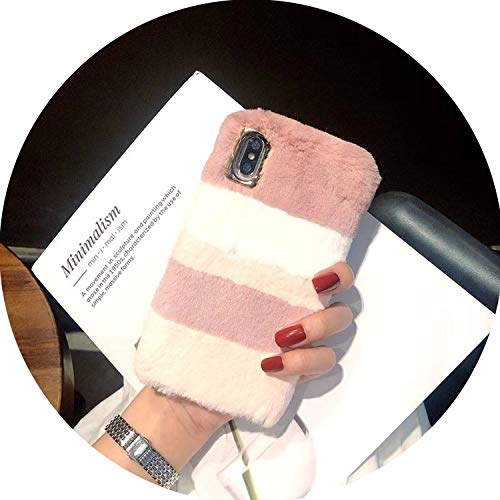 Winter Warm Phone Case for iPhone Xs max Mobile Phone Shell Fashion Color Matching Plush Case for iPhone XR X 6S 6plus 7 8,L204989,for iPhone 7