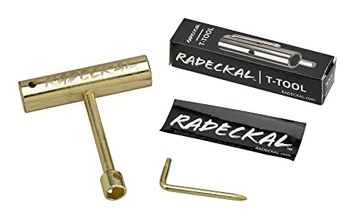 RADECKAL Compact Pocket Skate Tool- T Tool All in One Skate Tool for Skateboards, Longboards, Mini Skateboards, and Cruisers- Collapses to a Compact Size to Fit in Your Pocket (Gold) - Metal Roller Skates