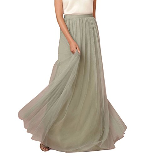 WDPL 3 Layers Soft Tulle Skirt Maxi Long Bridal Wedding Skirts for Women (Large, Sage) by WDPL