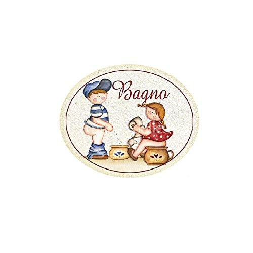 L'Angolo delle Idee Targa legno Ovale BAGNO Bambini Vintage toilette idea regalo benessere made italy L' Angolo delle Idee