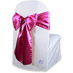 Sparkles Make It Special 100 pcs Satin Chair Cover Bow Sash - Fuchsia - Wedding Party Banquet Reception - 28 Colors Available