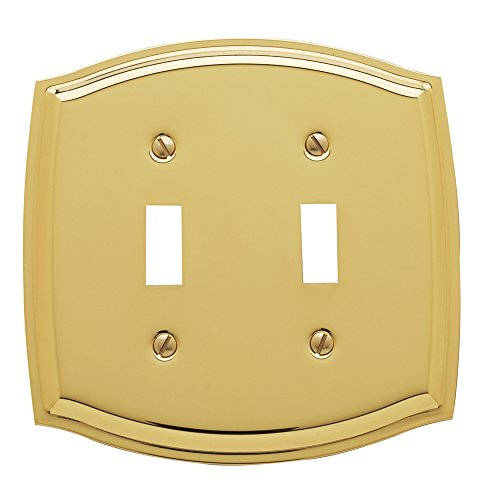 (Baldwin Estate 4766.030.CD Colonial Double Toggle Wall Plate in Polished Brass, 5.1