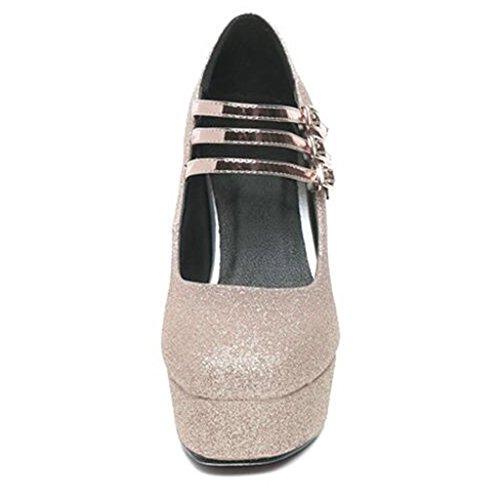 Super Oro di da Tacchi Grosso Femminile Scarpe Impermeabile Paillettes D'Oro Alti Donna Piattaforma Cristallo Tacco 0dnw6q