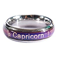 Acchen Mood Rings Constellation Changing Color Emotion Feeling Finger Ring with Box (Capricorn)