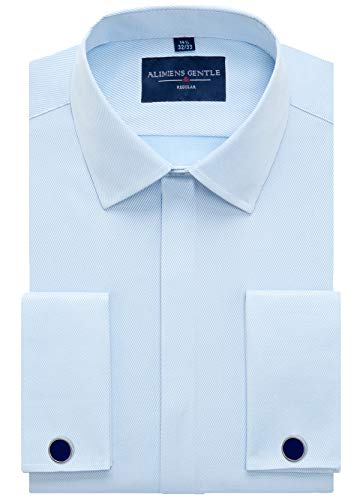 Men's French Dress Shirt Regular Fit (Include Cufflinks Collar Stays) (17.5