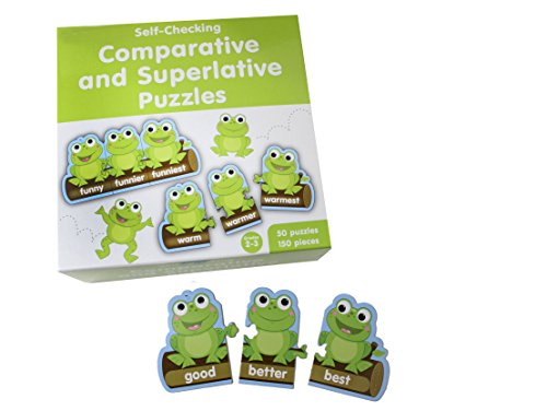 Curious Minds Busy Bags Comparative and Superlative Word Puzzle Game - Teacher Language Arts Supplies - Spelling Writing Activity