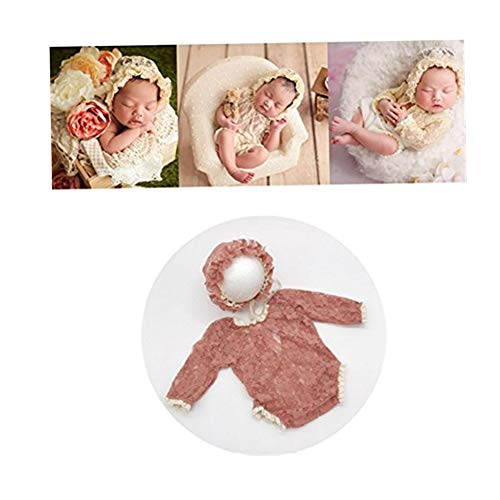 (Newborn Monthly Baby Photo Props Outfits Handmade Lace Hat with Bodysuits Rompers Set for Girls Photography Shoot (Dark Pink))
