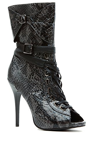 Grey Faux Snake Skin Lace Up Peep Toe Booties